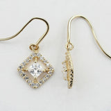 14KT Diamond Shape C.Z Hanging Hook Earrings