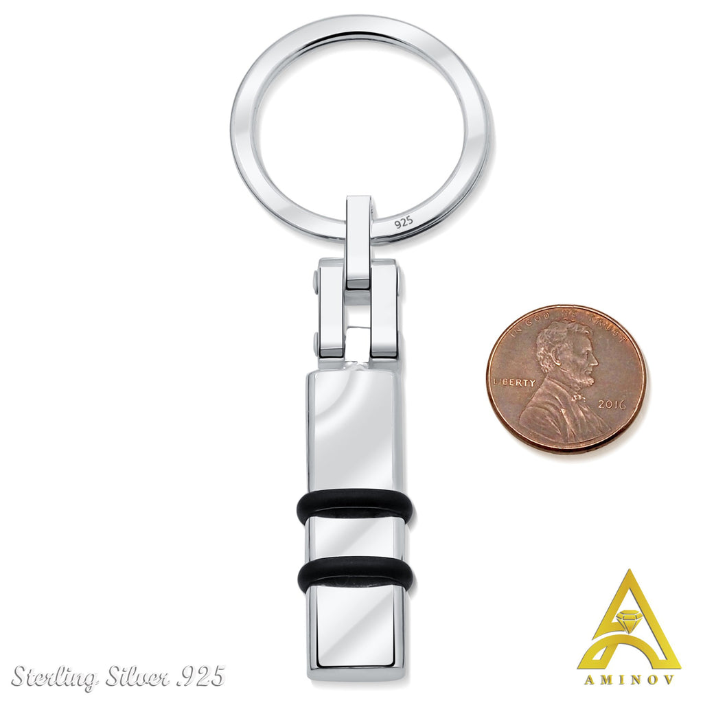 Sterling Silver .925 with Black Band Keychain