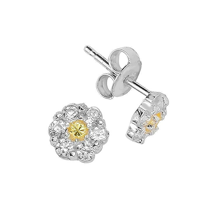 Sterling Silver .925 C.Z Yellow Flower Studs
