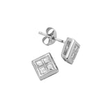 Sterling Silver .925 C.Z Princess-Cut Studs