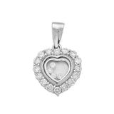 Sterling Silver .925 Floating C.Z Heart Pendant