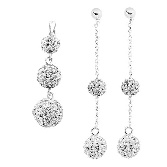 Sterling Silver .925 Swarovski Hollow Ball Drop Earrings & Pendant Set