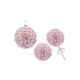 Sterling Silver .925 Swarovski Hollow Ball Stud Earrings & Pendant Set - Baby Pink