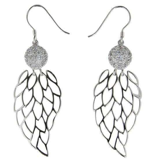 Sterling Silver .925 C.Z Fancy Hanging Earrings
