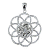 Sterling Silver .925 Flower of Life C.Z Pendant