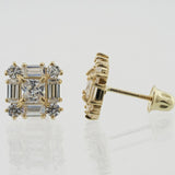 14KT Baguette and Round C.Z Screw Back Studs