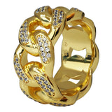 Gold Plated C.Z Cuban Link Eternity Ring