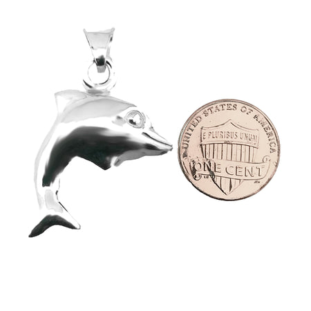 Sterling Silver .925 Dolphin Hollow Charm