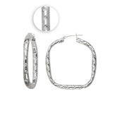 Sterling Silver .925 Fancy Square Hoops