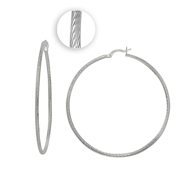 Sterling Silver .925 Fancy Thin Hoops