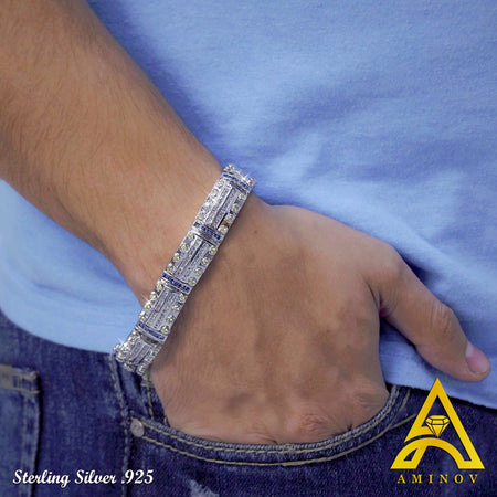 Men's Sterling Silver .925 Blue and Yellow C.Z Bracelet