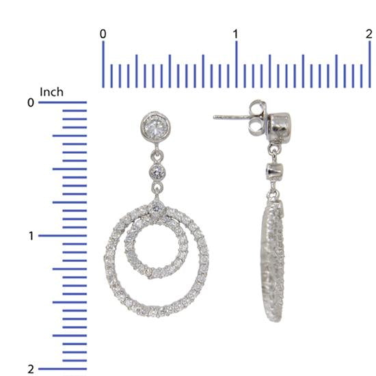 Sterling Silver .925 C.Z Circle Drop Earrings