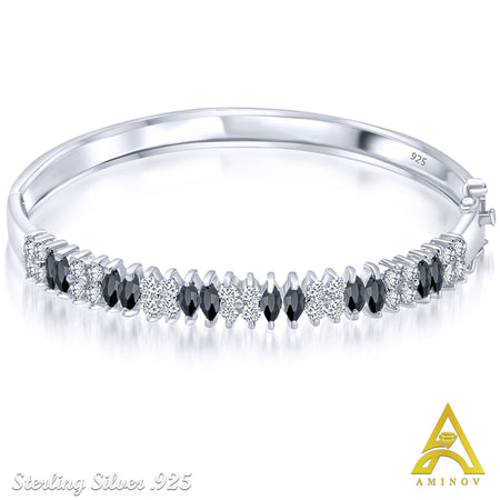 Sterling Silver .925 Black & White C.Z Bangle