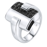 Sterling Silver .925 Black C.Z Ring