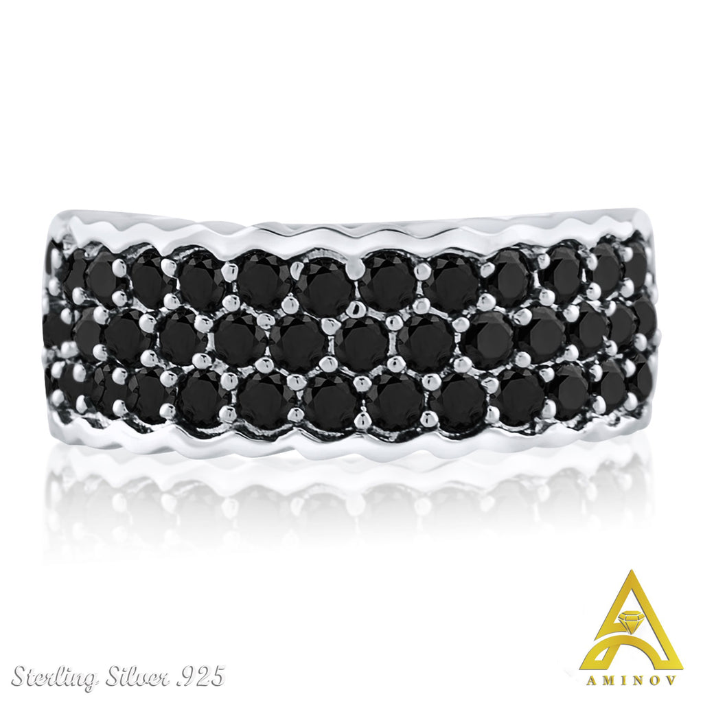 Sterling Silver .925 Black C.Z Ring Band