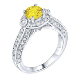 Sterling Silver .925 Yellow C.Z Engagement Ring