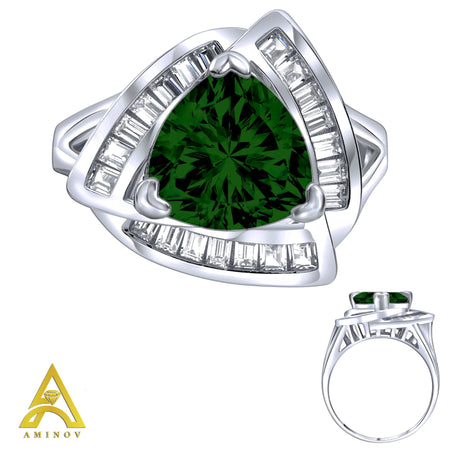 Sterling Silver .925 Green C.Z Trillion Cut Ring