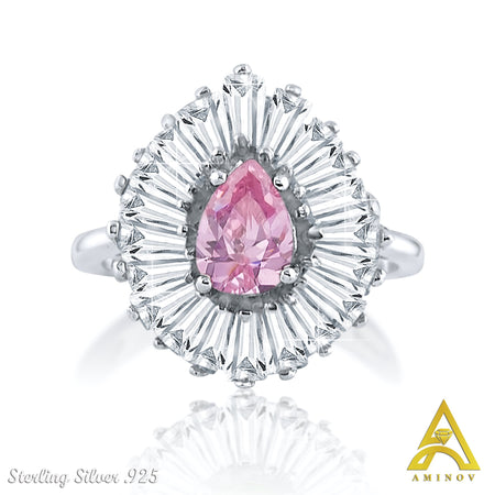 Sterling Silver .925 Pink C.Z Ring