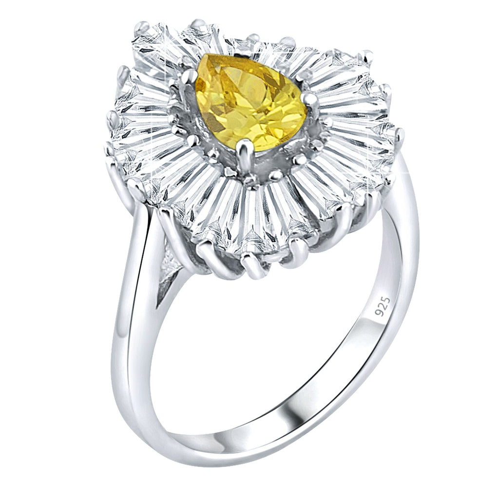 Sterling Silver .925 Yellow C.Z Ring