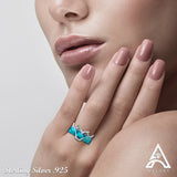 Sterling Silver .925 Light Blue C.Z Ring