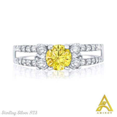 Sterling Silver .925 Yellow C.Z Engagment Ring