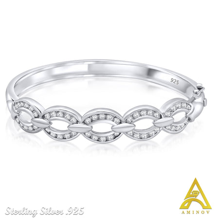 Sterling Silver .925 Linked Design C.Z Bangle