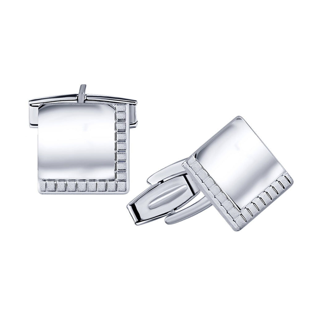 Sterling Silver .925 Square Cufflinks with Satin Finish Accent