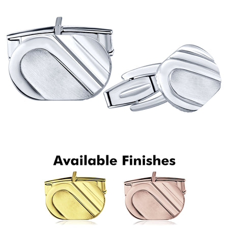 Sterling Silver .925 Oval Cufflinks with Satin Finish Accent