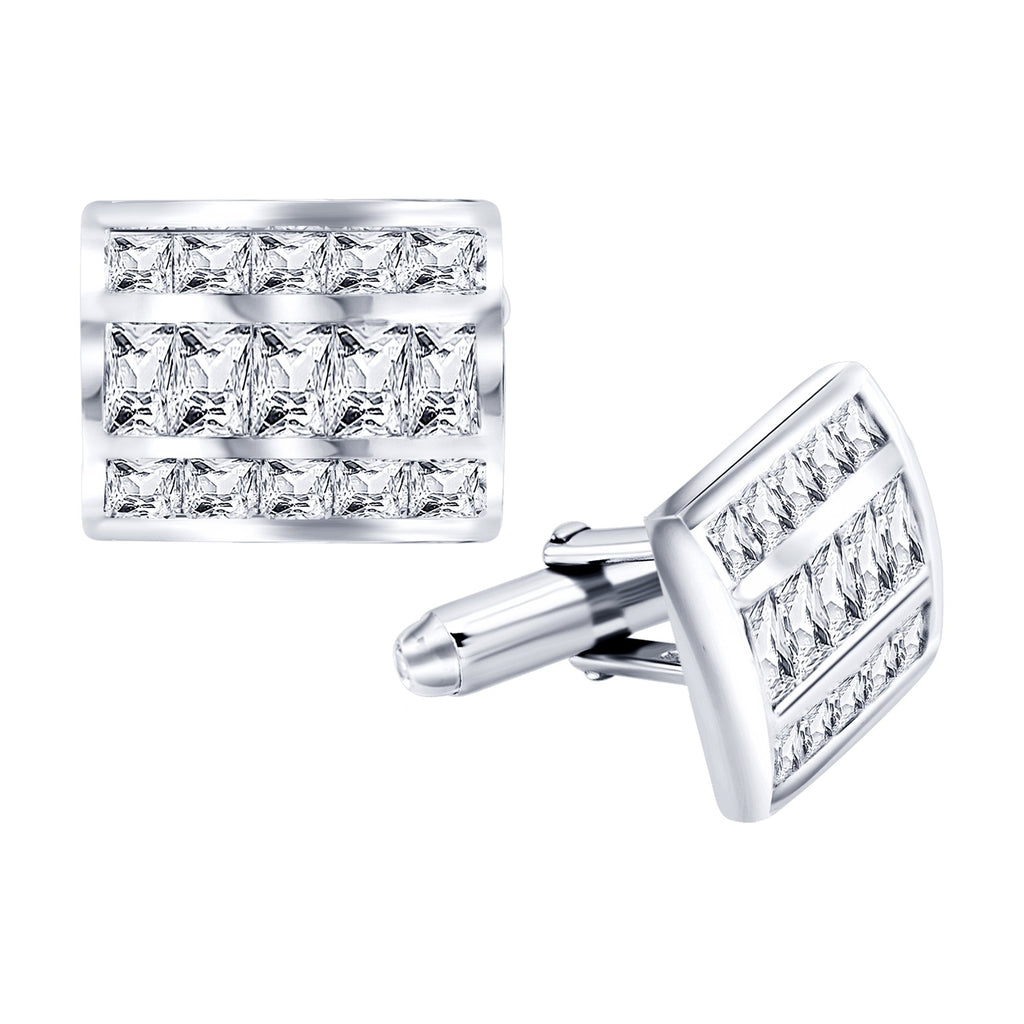 Sterling Silver .925 Rectangular Cufflinks with Princess Cut CZ Stones