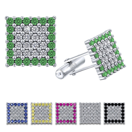Sterling Silver .925 Square Cufflinks with White and Green CZ Stones