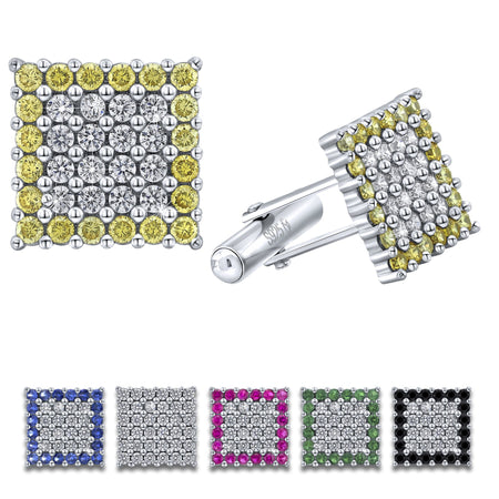 Sterling Silver .925 Square Cufflinks with White and Yellow CZ Stones