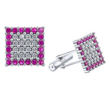 Sterling Silver .925 Square Cufflinks with White and Raspberry Tourmaline CZ Stones