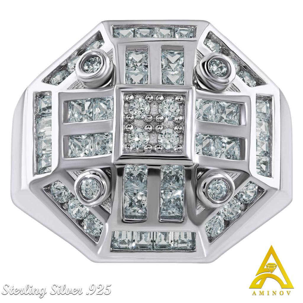 Sterling Silver .925 Octagon C.Z Ring
