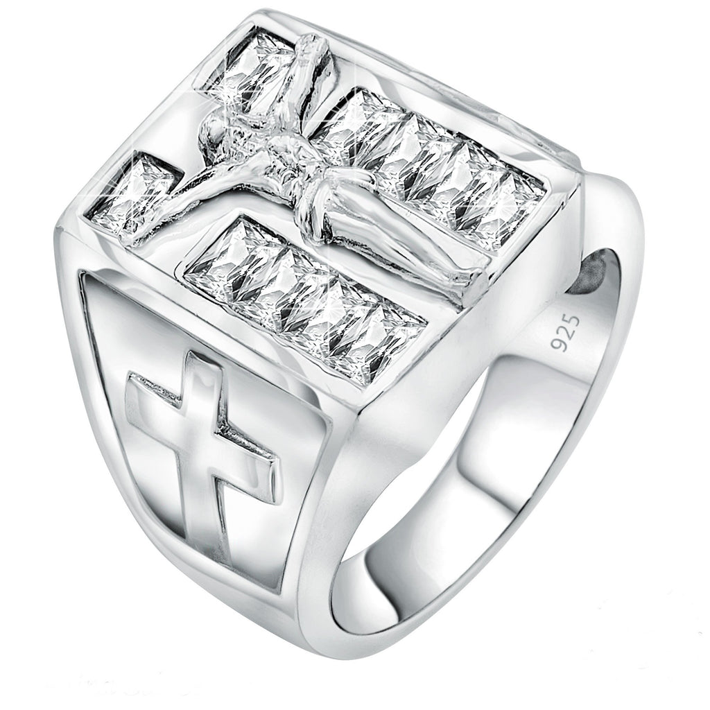 Sterling Silver .925 Jesus Cross Crucifix C.Z Ring