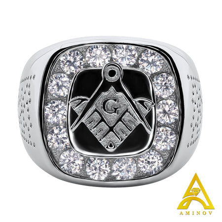 Sterling Silver .925 Masonic C.Z Ring