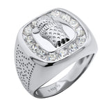 Sterling Silver .925 Basketball and Hoop C.Z Ring