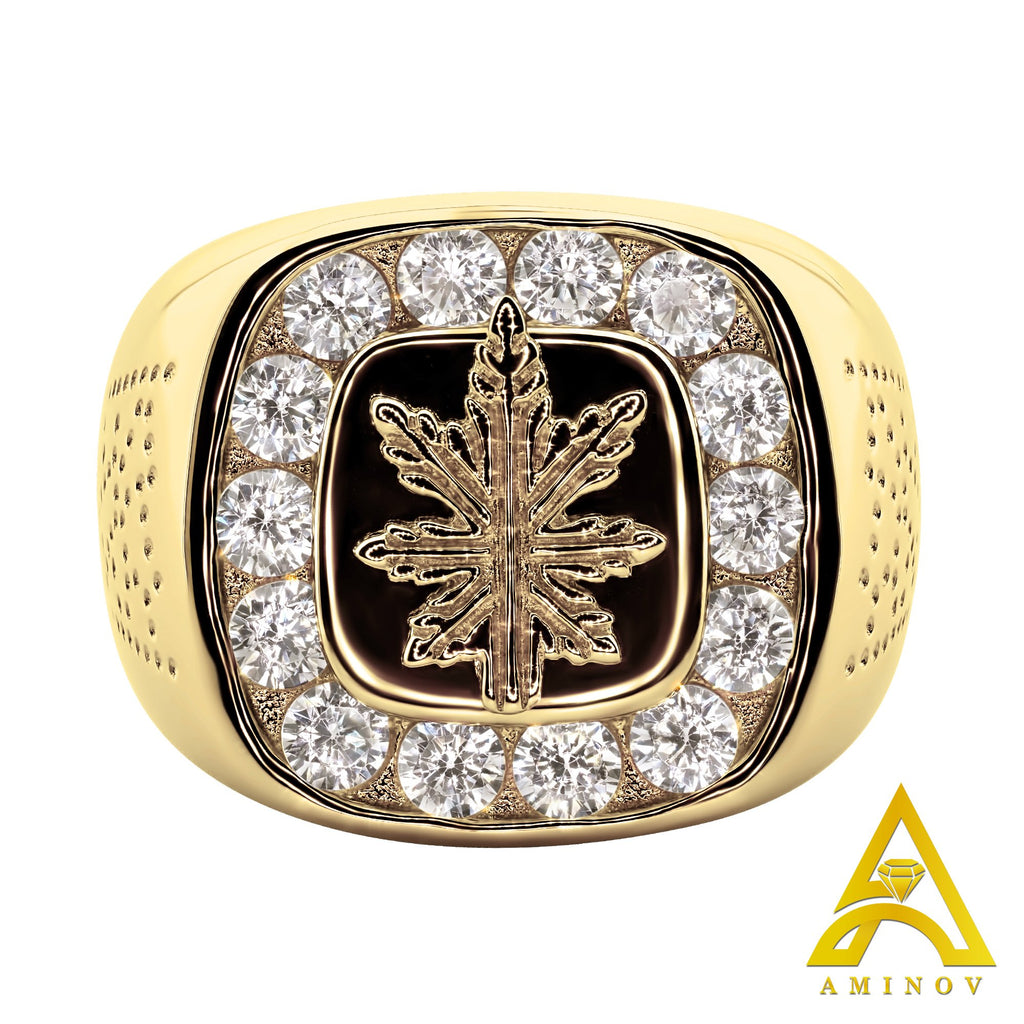 Sterling Silver .925 Micron Gold Plated Cannabis Leaf C.Z Ring