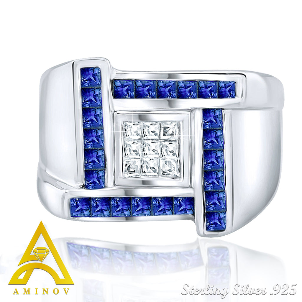 Sterling Silver .925 Blue & White C.Z Ring