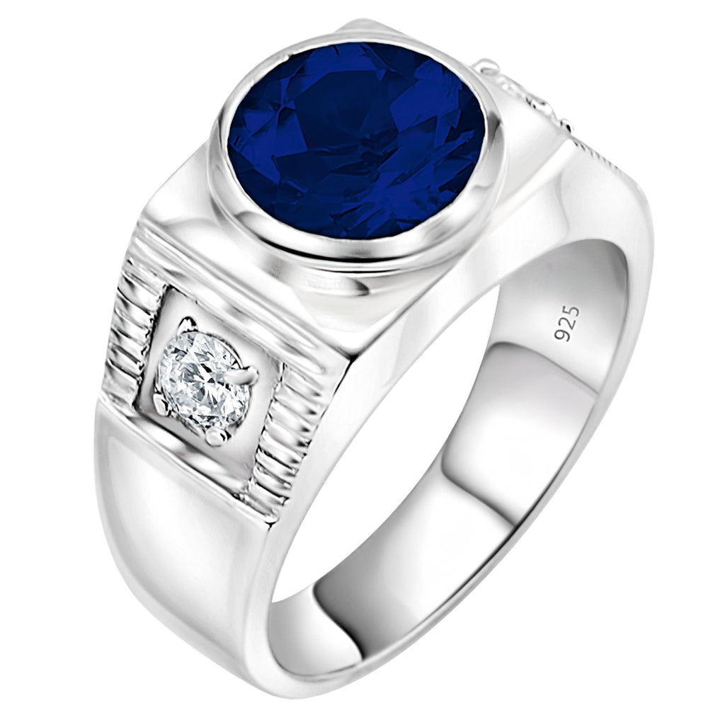 Sterling Silver .925 Blue Center C.Z Stone Ring