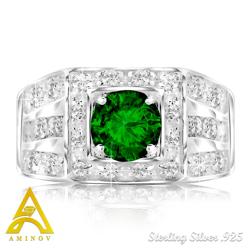Sterling Silver .925 C.Z Green Center Stone Ring
