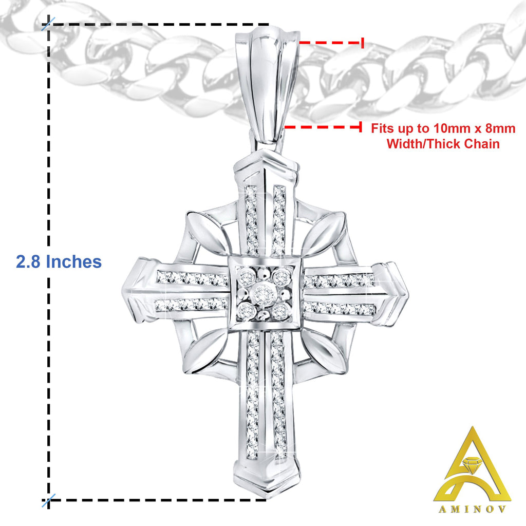 Sterling Silver .925 Large Cross CZ Charm