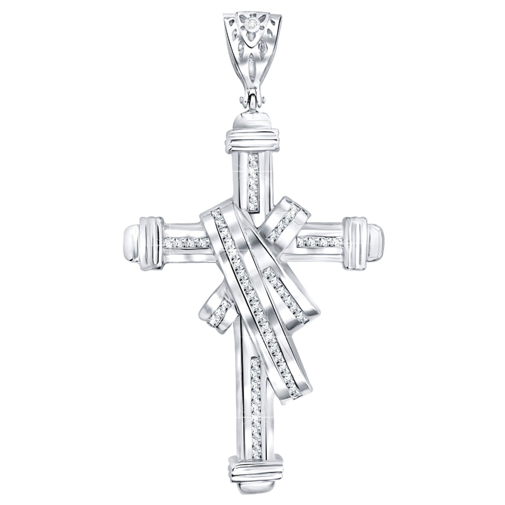 Sterling Silver .925 Large Draped Cross C.Z Charm Pendant