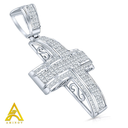 Sterling Silver .925 Extra Large Cross C.Z Charm Pendant