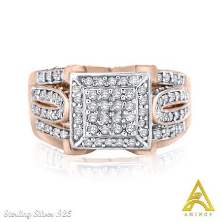 Sterling Silver Rose Gold .925 C.Z Ring