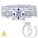 Sterling Silver .925 Princess Cut C.Z Duo 2 Piece Ring