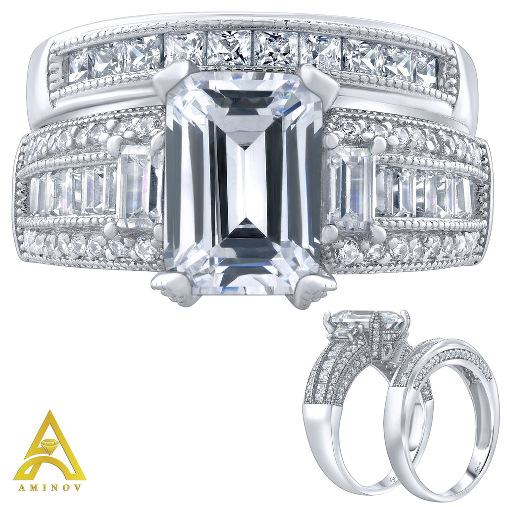 Sterling Silver .925 Emerald Cut C.Z Duo 2 Piece Ring