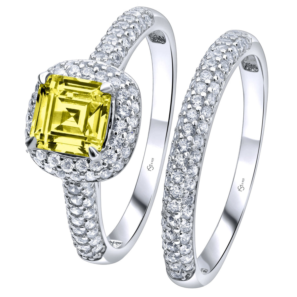 Sterling Silver .925 Ascher Cut Yellow C.Z Duo 2 Piece Ring