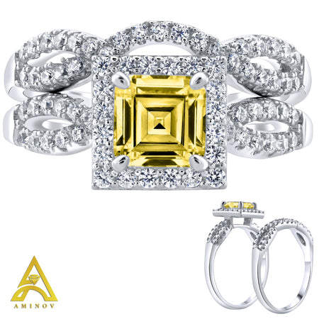 Sterling Silver .925 Asscher Cut Yellow C.Z Duo 2 Piece Ring