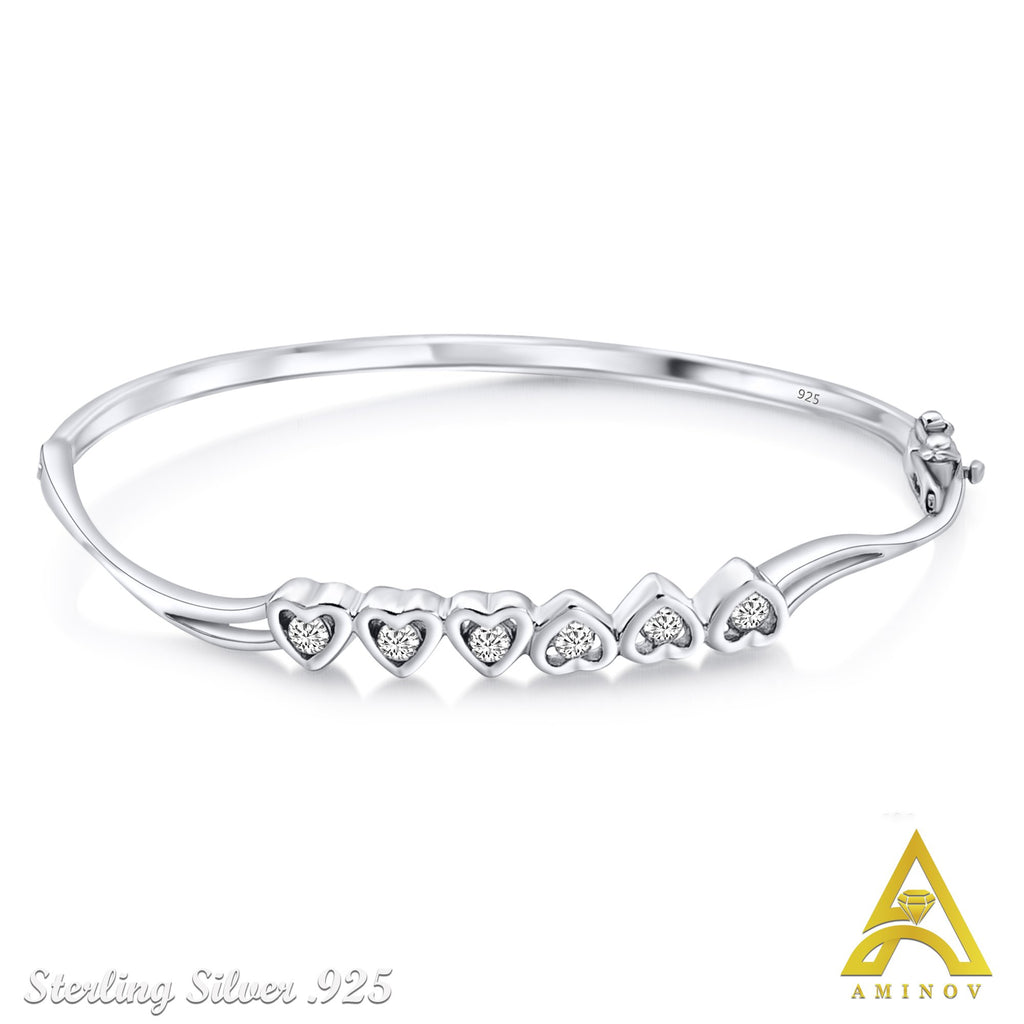Sterling Silver .925 C.Z Hearts Bangle