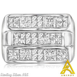 Sterling Silver .925 Triple Row Ring C.Z Ring
